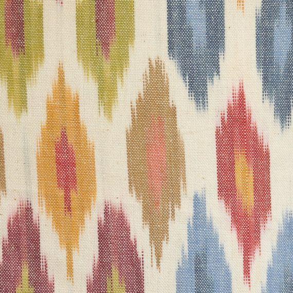 Home Decor Fabric, Designer Fabric, Schumacher, Sunara Ikat, Spice, 100%  Cotton, Woven Ikat, Upholstery Fabric, 4.7 Yards