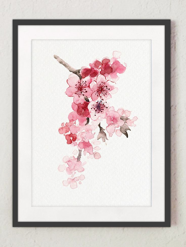 Cherry Branch Home Decor, Cherry Tree Pink Newborn Girl Nursery Wall Painting, Watercolor Cherry Blossom Shabby Chic Nature Giclee Art Print by ColorWatercolor on Etsy https://www.etsy.com/listing/218756590/cherry-branch-home-decor-cherry-tree