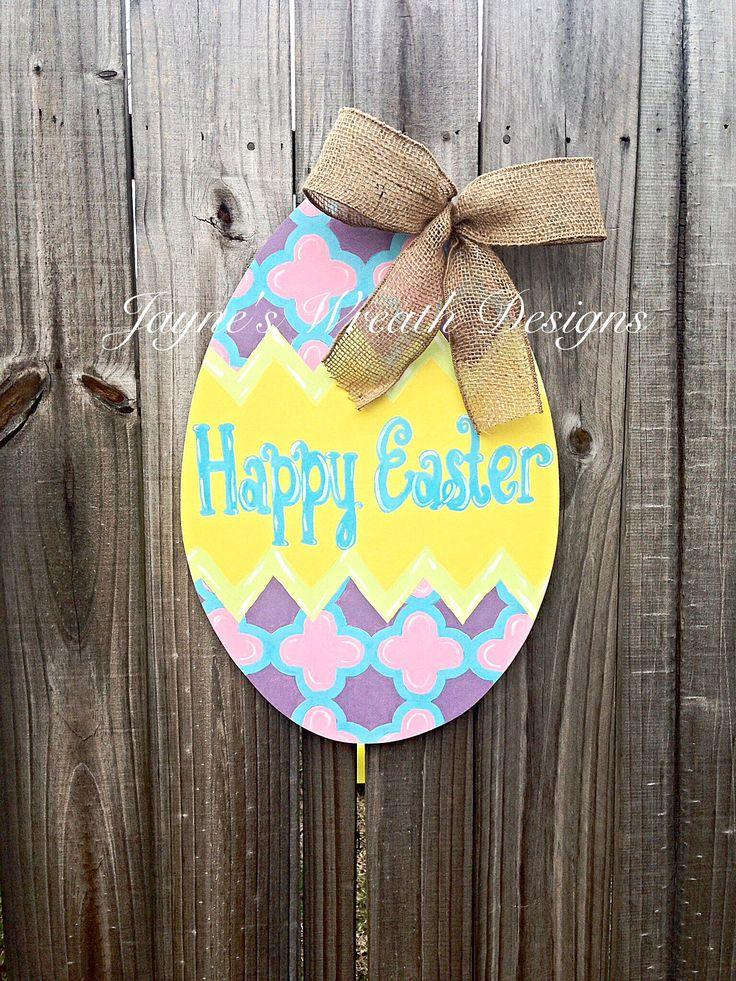 Wooden Easter Egg Door Hanger with Burlap