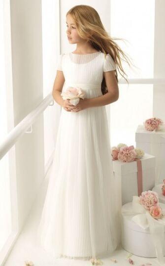 Charming Bateau Short Sleeves Long Ruching Chiffon Communion Dresses