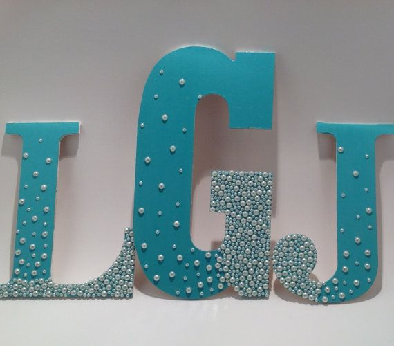 3 Initials Wooden Monogram Letters With Pearls by BridgeBOWtique, $72.00