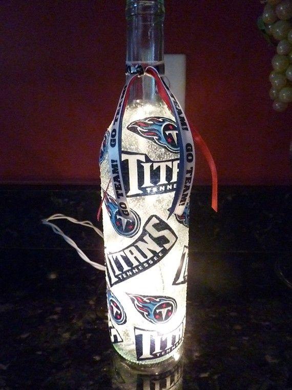 Handmade Lighted Wine Bottle w/ Tennessee TITANS by BottlesbyKaren, $20.00
