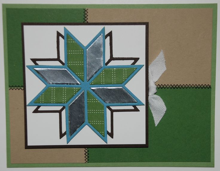Stampin' Up! - Star Quilt Card - Christmas Quilt stamp set - Wild Wasabi, Crumb Cake, Garden Green, Early Espresso, Whisper White & Marina Mist & Silver Foil Sheet & Quilted Christmas DSP - Early Espresso ink pad - Big Shot, Quilt Builder Framelits - Check out my website for supplies, measurements & other ideas