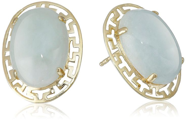 18k Yellow Gold Over Sterling Silver Green Jade Greek Key Post Stud Earrings: Jewelry: