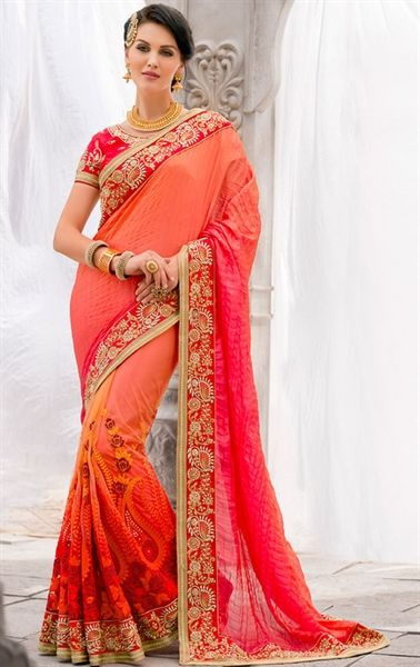 Fascinating Orange Wedding Saree
