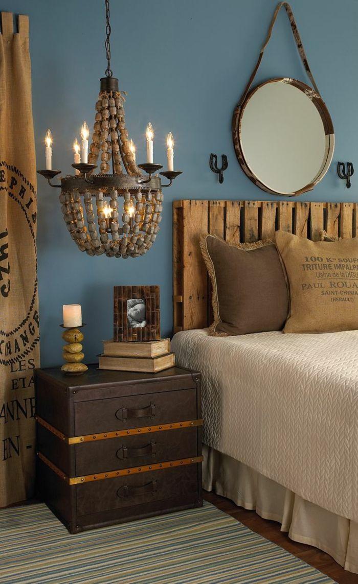faire une tete de lit en palette, chambre à coucher rustique et adorable