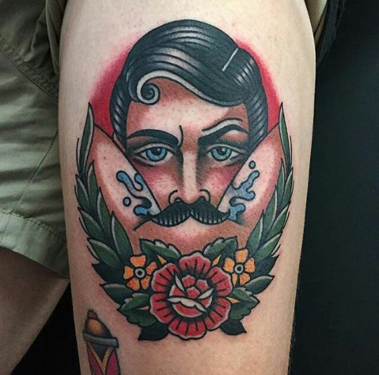 mustache tattoo oldschool
