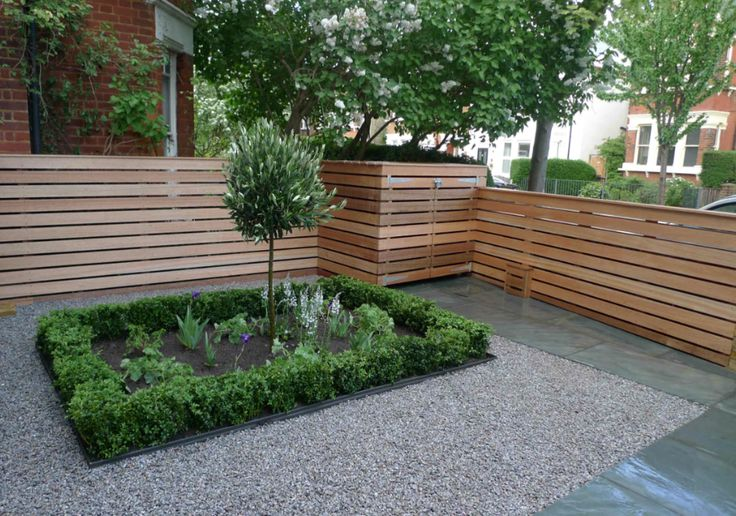 Good Garden Design For Front Garden Uniting The Contemporary (the Fence) With  The Classical (the Central Rectangular Area Of Foliage) To Great Effect.