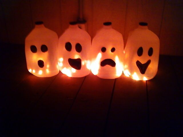 Halloween Milk Jug Ghosts - tried this, went very well