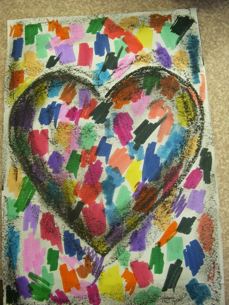 Jim dine hearts: paper, smelly markers, heart template (for K&1's) and black crayon.