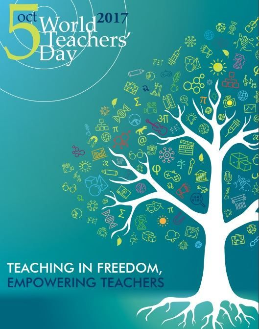 Poster from UNESCO World Teachers' Day, held annually on October 5th since 1994 – when it was created by UNESCO – celebrates teachers worldwide (in the United States, National Teacher Day is Tuesda…