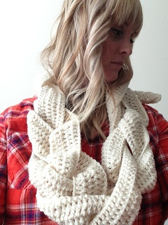 If you crochet, here is a new idea. Crochet three long pieces then braid them together and stitch closed to make an eternity scarf