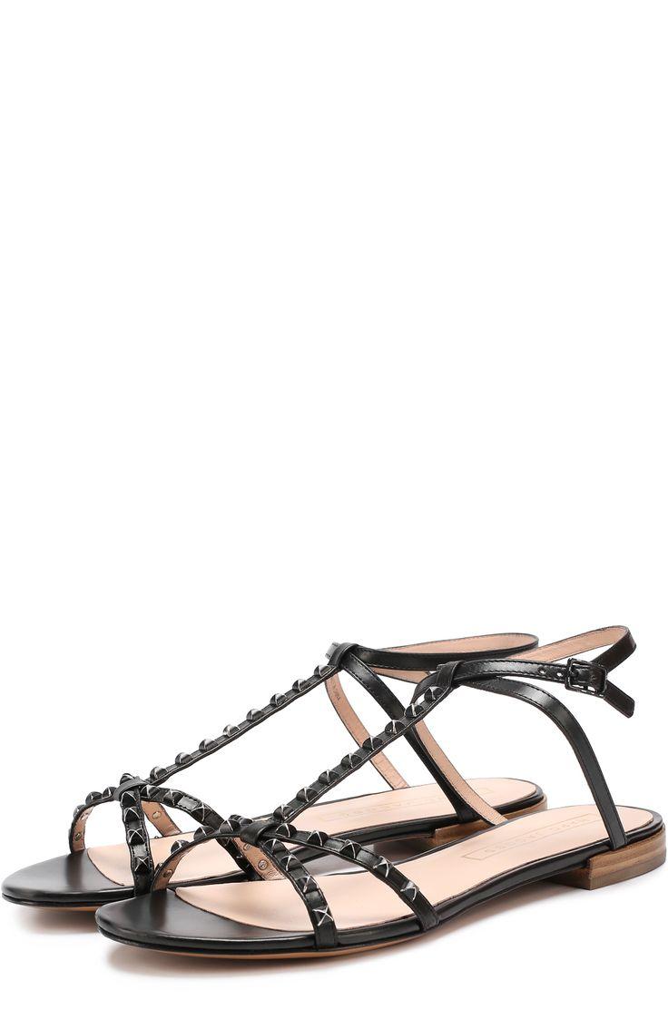 Женские черные кожаные сандалии ana с заклепками Marc Jacobs, сезон SS 2017, арт. M9001740 купить в ЦУМ | Фото №1