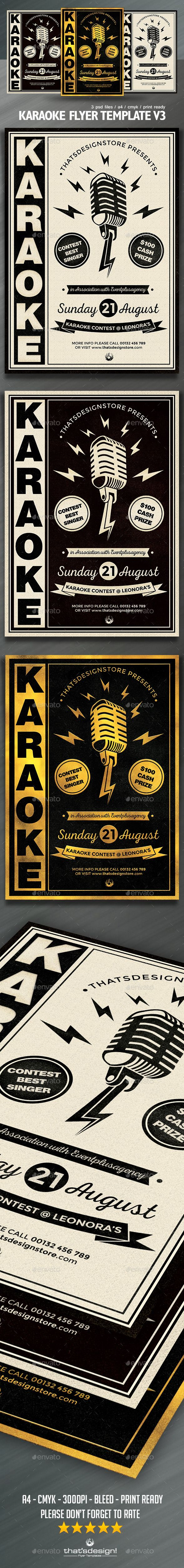 Karaoke Flyer Template PSD #design Download: http://graphicriver.net/item/karaoke-flyer-template-v3/12897018?ref=ksioks