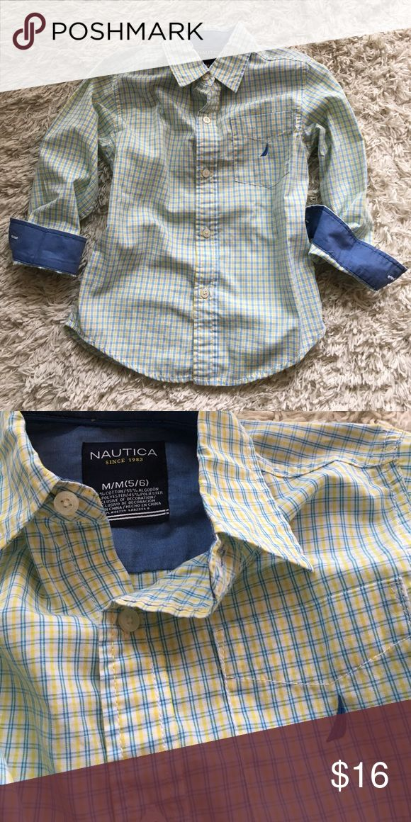Nautica boys dress shirt, size 6 Labeled a 5/6 but my middle ones just moving into a 7/8 and this is one of the last shirts I took out of his dresser, so closer to that 6 mark. French blue and yellow plaid couldn't BE more perfect for spring events! Excellent condition - no wear whatsoever; no fade; no imperfections. Nautica Shirts & Tops Button Down Shirts