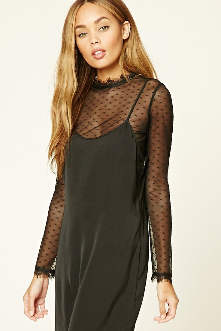 Forever 21 Contemporary - A sheer mesh top featuring a polka dot pattern, a lace-trimmed high neckline, a buttoned keyhole-back, and long sleeves with eyelash lace trim.