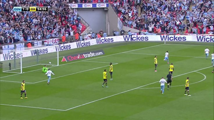 Coventry City 2 Oxford Utd 1 in May 2017 at Wembley. A goal for Coventry's Gael Bigirimana and its 1-0 in the FA Football League Trophy Final.
