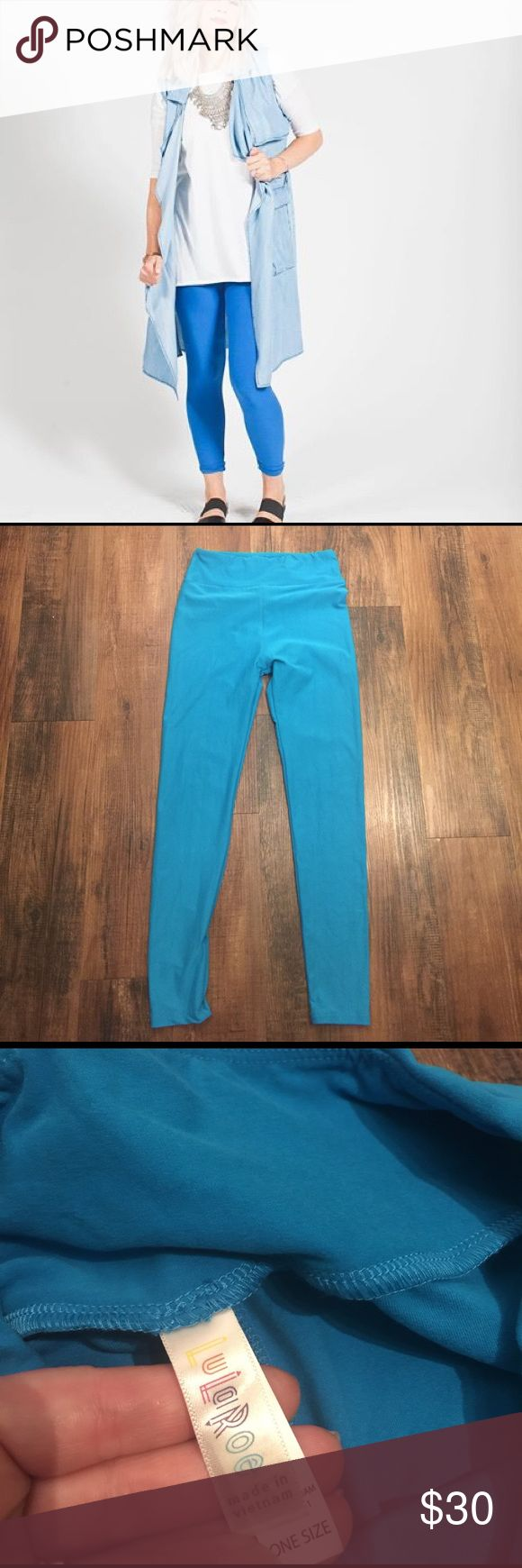 """LulaRoe Blue Leggings LulaRoe Blue Leggings.  Soft!  One Size.  Excellent condition.  Inseam approx 26"""". LuLaRoe Pants Leggings"""