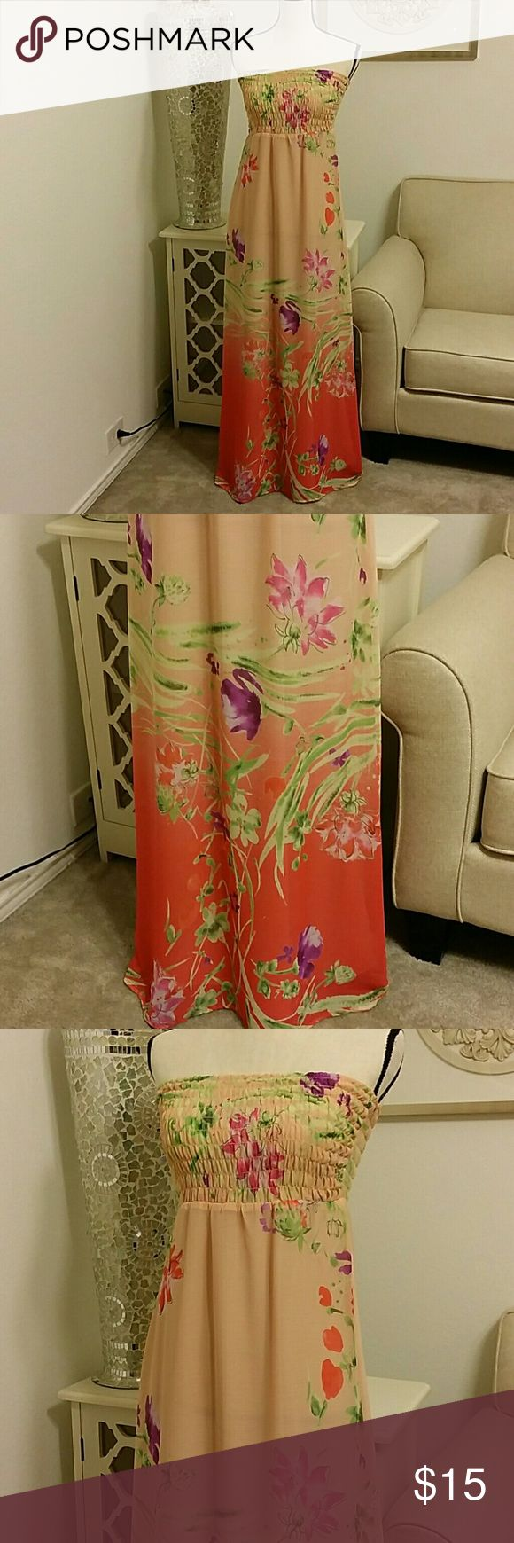 Gorgeous Print Old Navy Coral Maxi Dress Old Navy Maxi Dress. Coral color with beautiful bold pyrple, green and Redish-Orange flowers. Old Navy Dresses Maxi