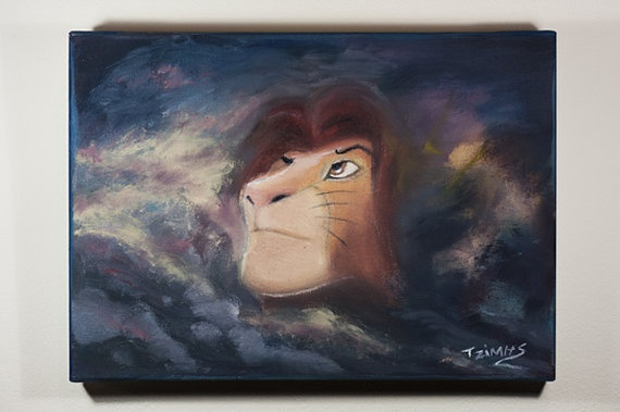 Simba in clouds  Oil Painting  Canvas Painting by JimmisArt, €80.00