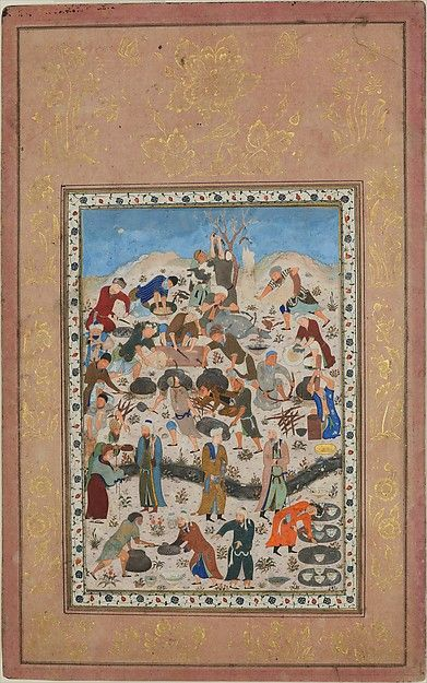 """""""Preparation for a Feast"""", Folio from a Divan of Jami, late 15th century, Iran. The Metropolitan Museum of Art, New-York"""