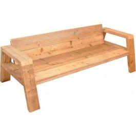 Handgemaakte robuuste steigerhouten Lounge bank Balkhout vervaardigt van gebruikt steigerhout. De bank heeft de afmeting 217 x 78 x 75.