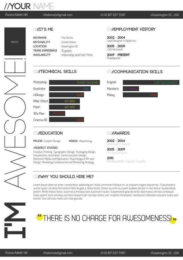 minimal black and white resume by kaixer resume layoutdesign