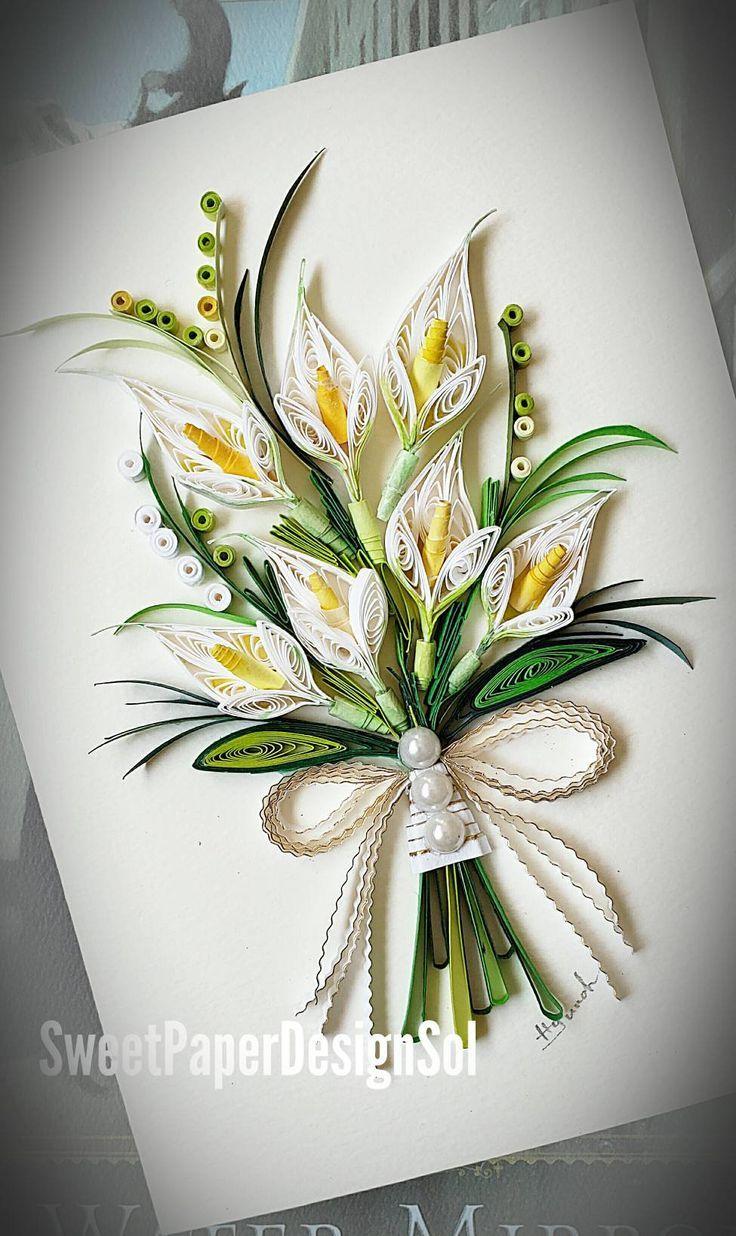 Квиллинг лилии открытка, нарисовать