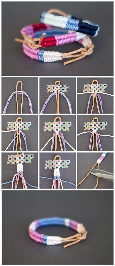 How to make a rainbow color thread braided friendship bracelet