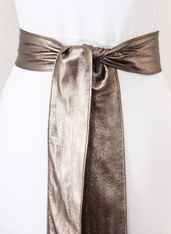 Pewter Soft Sash Belt  Metallic Wrap Belt  Leather