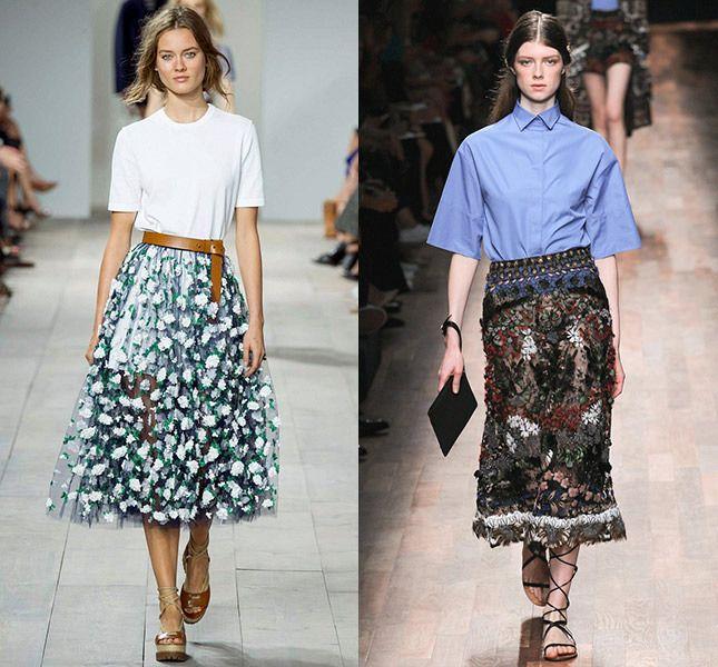 Тенденции. Прозрачная вечерняя юбка.    Декор этих юбок настолько активен и красив, что прозрачность вовсе не выглядит вызывающе. Однако же стилисты показов предлагают сочетать такие вещи с более спокойным, почти скучным верхом, чтобы не переборщить.