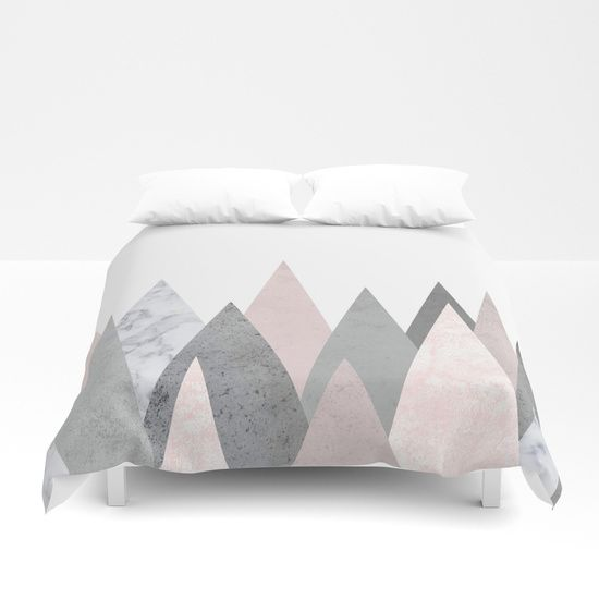 Cover yourself in creativity with our ultra soft microfiber duvet covers. Hand sewn and meticulously crafted, these lightweight duvet covers vividly feature your favorite designs with a soft white reverse side. .marble, blush, pink, rose, gray, gold, copper, geometry, geometric, triangles, Scandinavian, minimal, mid century , design, trend, white, fresh, modern, society6, art print, tapestry, window curtains, home decor, interior design, home style, wall art