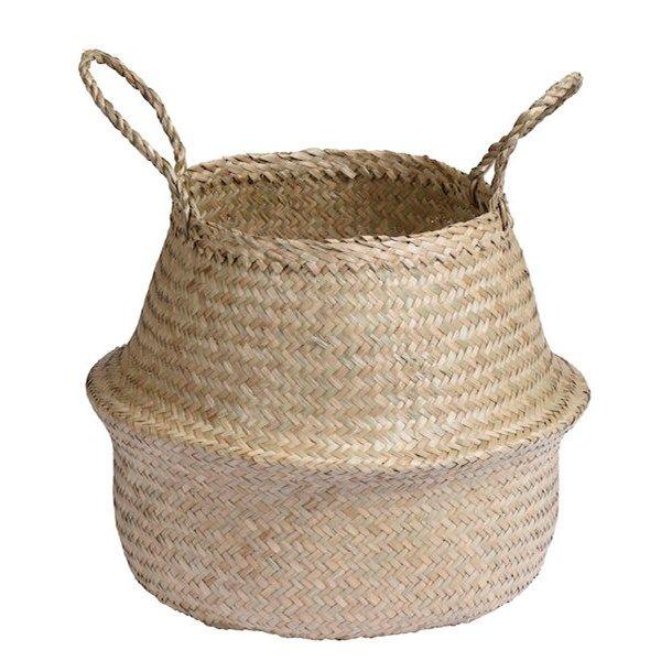 Förvaringskorg Moses tillverkad i sjögräs. Finns i måtten: 30x28/48 cm och 40x35/50 cm. Finns i flera färger.