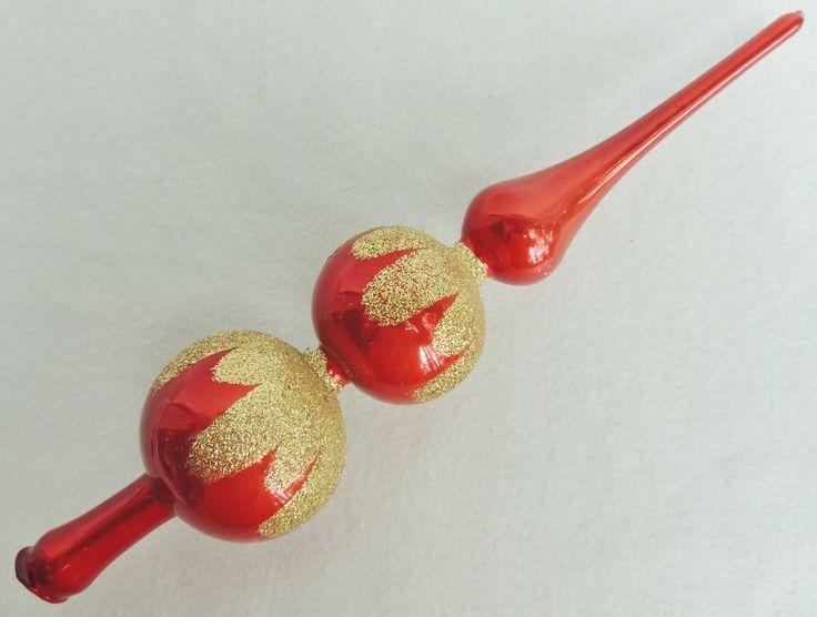 "Vtg 12"" Christmas Classics RED Mercury Glass Mica SNOW CAP Xmas Tree Topper 273"
