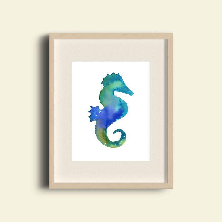 seahorse watercolor, seahorse wall art, beach home decor, seahorse nursery print, watercolor seahorse, seahorse, beach seahorse, ocean print by BearandFoxCo on Etsy https://www.etsy.com/listing/547870247/seahorse-watercolor-seahorse-wall-art