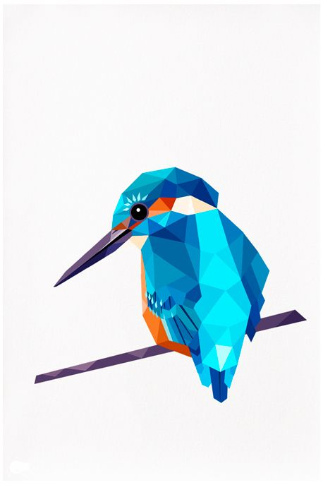 Sacred Kingfisher, Geometric illustration, Bird print, Original illustration by tinykiwi prints