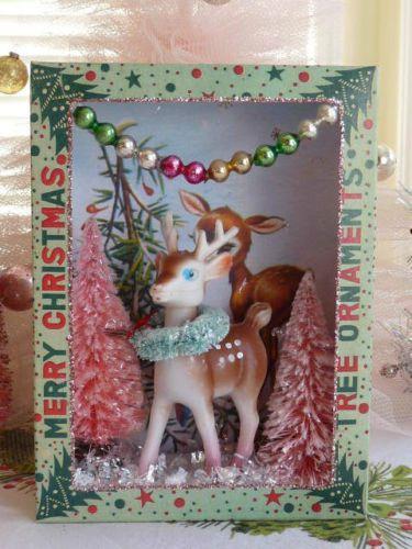 Vintage Christmas Ornament Shadow Box, Diorama, Bottle Brush Trees, Vintage Deer
