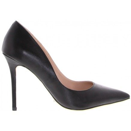 A black leather mid heel with a pointed toe.   Leather upper and synthetic lining. Heel height is 10.5cm.