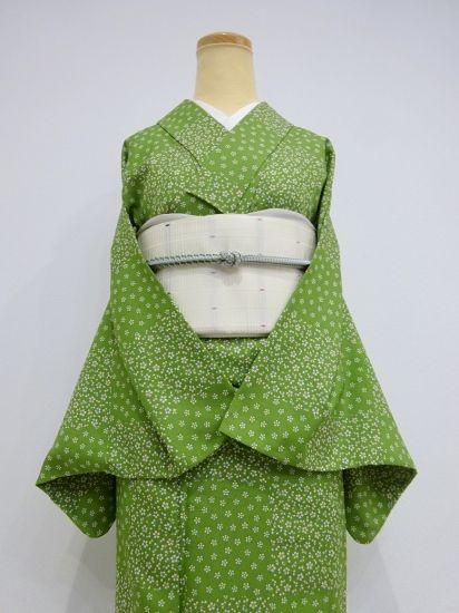 ●雅星●良品!!草色*花格子♪洗える小紋 単衣 裄66.5丈160ロング - アンティーク着物や現代着物なら雅星本店