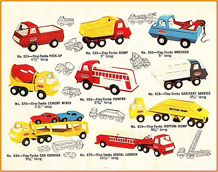 """Tonka Toys - 1968...: """"i have 7/9 trucks here"""" (- the cars on truck and side ladders)"""