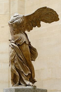 The Winged Victory of Samothrace,(Nike of Samothrace), is a 2nd cent. BC marble sculpture of the Greek goddess Nike (unknown sculptor) prominently displayed at the Louvre, Paris and is one of the most celebrated sculptures in the world. It is estimated to have been created around 190 BC not only to honor the goddess, Nike, but to honor a sea battle. It conveys a sense of action and triumph as well as portraying artful flowing drapery through its features which the Greeks considered ideal…