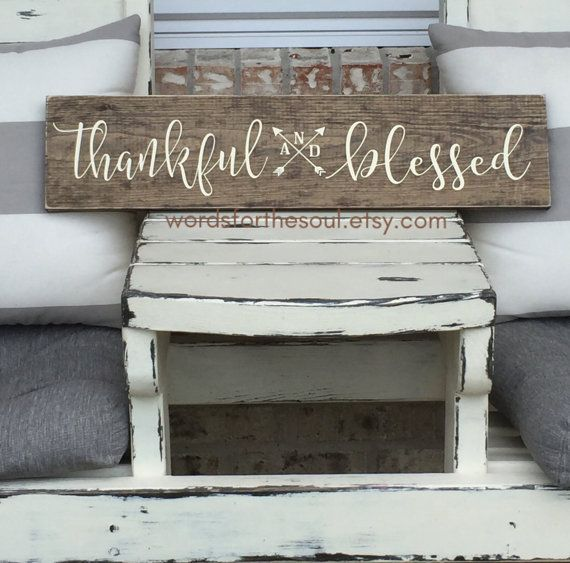 THANKFUL and BLESSED wood Sign  Autumn  Rustic by WordsForTheSoul