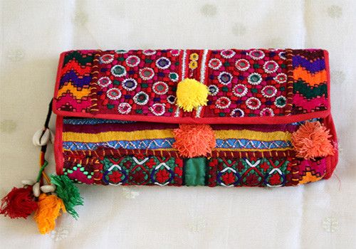 Vintage Kutch Embroidery Clutch (Design 36) – Desically Ethnic