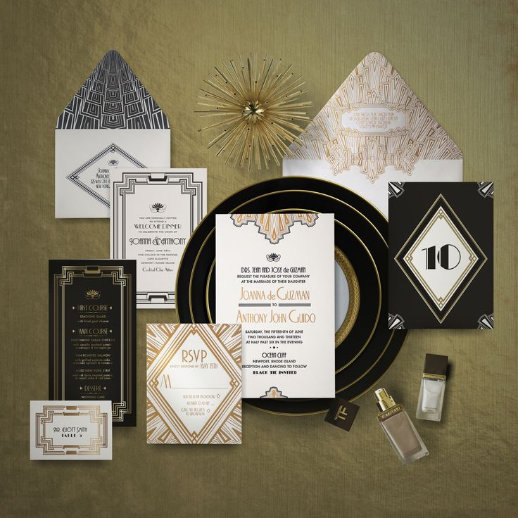 how much do invitations for wedding cost%0A A boldly Art Deco wedding invitation  this design pairs stunning black and  white graphics with