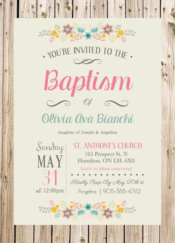 Baptism Invitation Christening Church Ceremony por thelyricshoppe