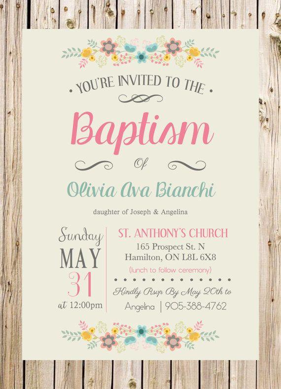 Baptism Invitation Christening Church Ceremony por thelyricshoppe