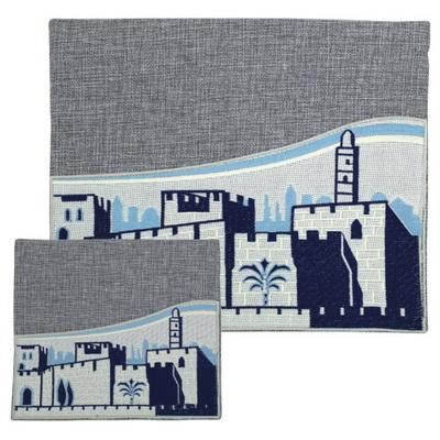 Linen Talit-Tefilin Set 36*29 Cm- Blue