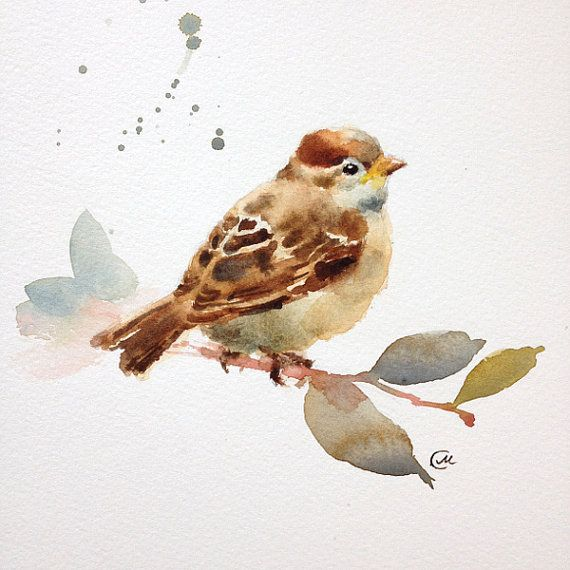 Baby Sparrow Watercolor Original Painting