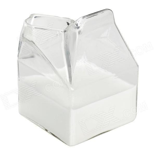 Mini Half Pint Creamer Milk Carton Glass Cup - Transparent
