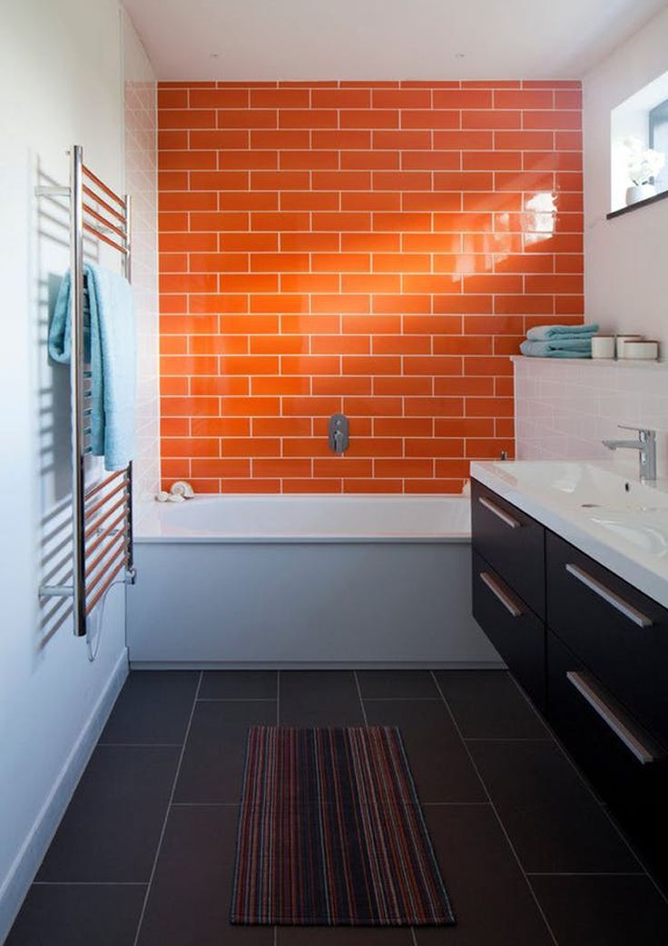 orange interior | inspiration and color matching | orange and white for the bathroom, just one wall